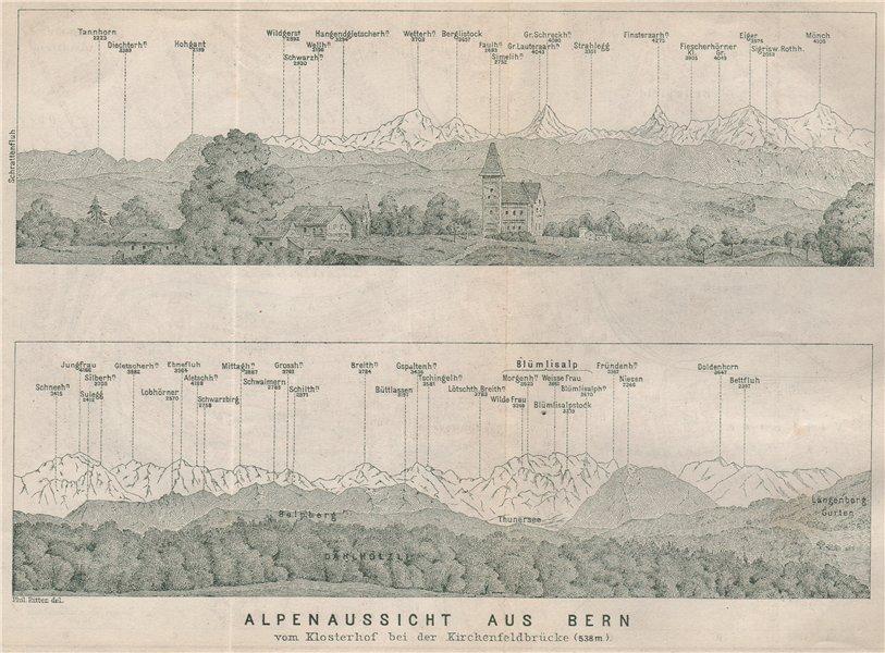 Associate Product PANORAMA vom/from BERN/Berne. Blumisalp Eiger Jungfrau Gletscherhorn 1897 map