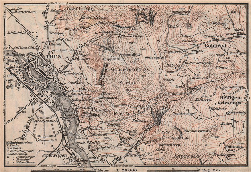 Associate Product THUN ENVIRONS. Goldiwyl. Switzerland Suisse Schweiz carte karte 1897 map