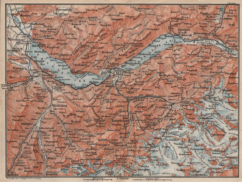 Associate Product BERNESE OBERLAND. Wengen Mürren Grundelwald Reutigen Interlaken Eiger 1897 map