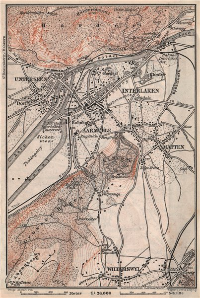 Associate Product INTERLAKEN ENVIRONS. Unterseen Matten Aarmuhle Wilderswyl. Schweiz 1897 map
