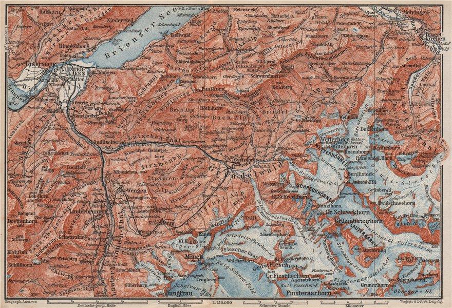 Associate Product GRINDELWALD environs. Wengen Mürren Jungfrau Wetterhorn Interlaken 1897 map