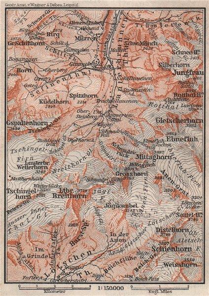 Associate Product UPPER LAUTERBRUNNEN VALLEY. Mürren Grosshorn Breithorn Jungfrau. SMALL 1897 map