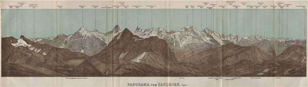Associate Product PANORAMA from/vom FAULHORN. Berner Oberland. Bernese Oberland 1897 old map