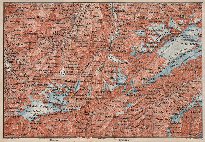 Associate Product KANDERSTEG area.Blumisalp Adelboden Wildstrubel Rinderhorn Torrenthorn 1897 map