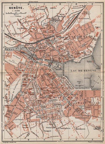 Associate Product GENEVA GENÈVE GENF. town city stadtplan. Switzerland Suisse Schweiz 1897 map