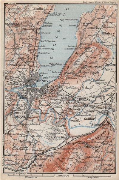 Associate Product GENEVA GENÈVE GENF ENVIRONS. Switzerland Suisse Schweiz carte karte 1897 map