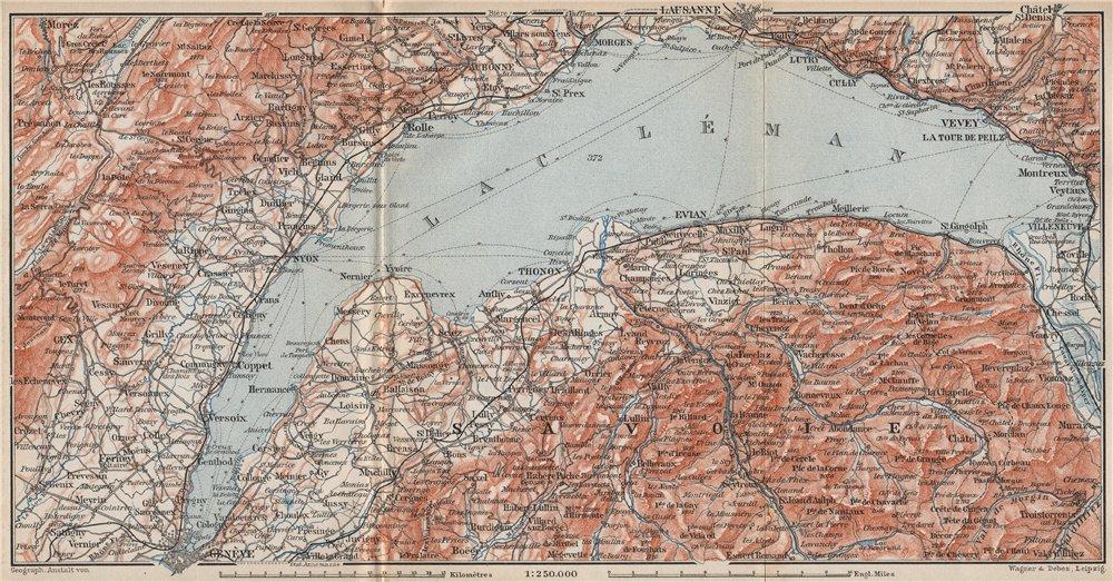Associate Product LAKE GENEVA/LAC LÉMAN. St Cergue Chatel St Jean d'Aulph Lausanne Evian 1897 map