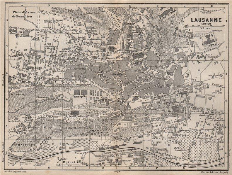 Associate Product LAUSANNE. town city stadtplan. Switzerland Suisse Schweiz carte karte 1897 map