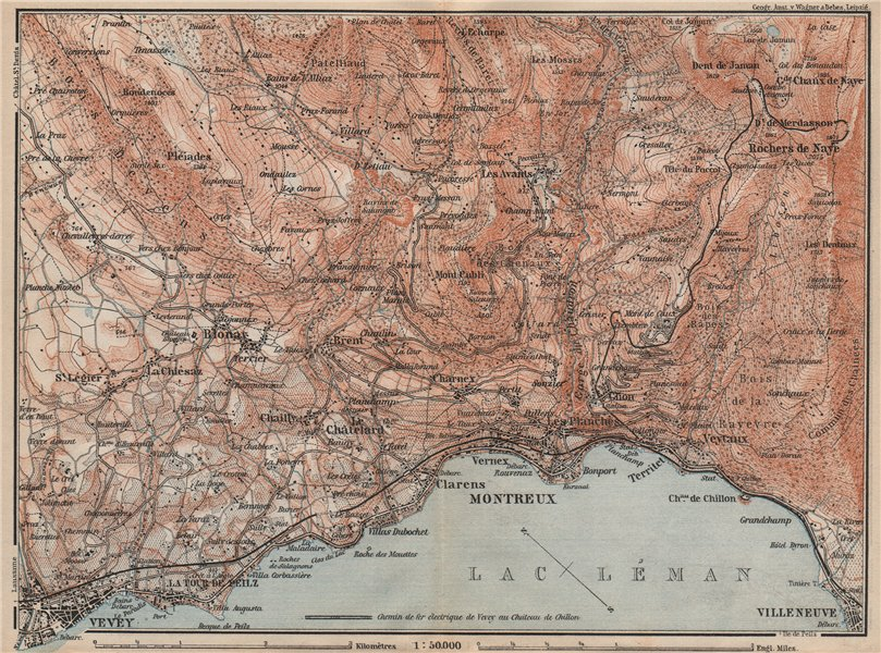 Associate Product MONTREAUX AREA. Vevey Villneuve. Topo-map. Switzerland Suisse Schweiz 1897