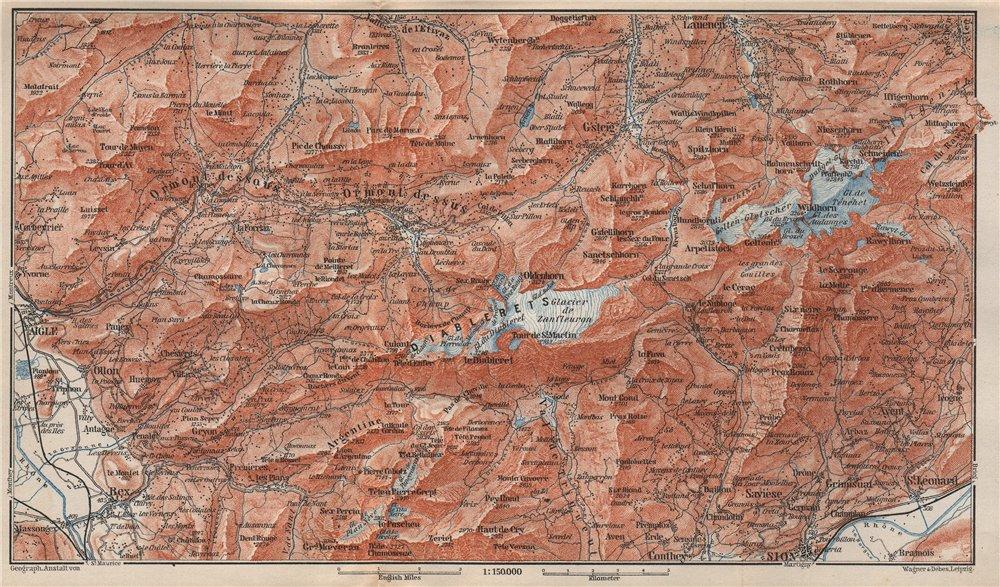 Associate Product AIGLE DISTRICT.Les Diablerets Villars Gryon Leysin Les Mosses Ormont 1897 map