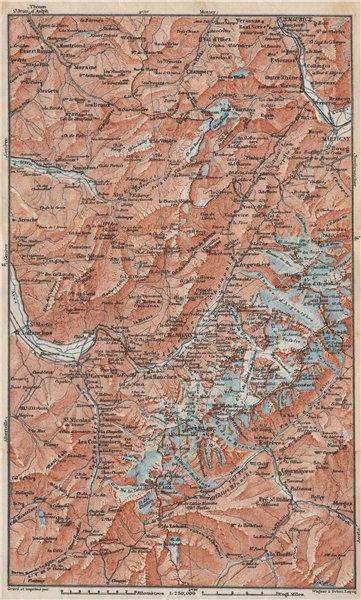 Associate Product MONT BLANC. Chamonix Courmayeur Argentière Morzine St Gervais Megève 1897 map