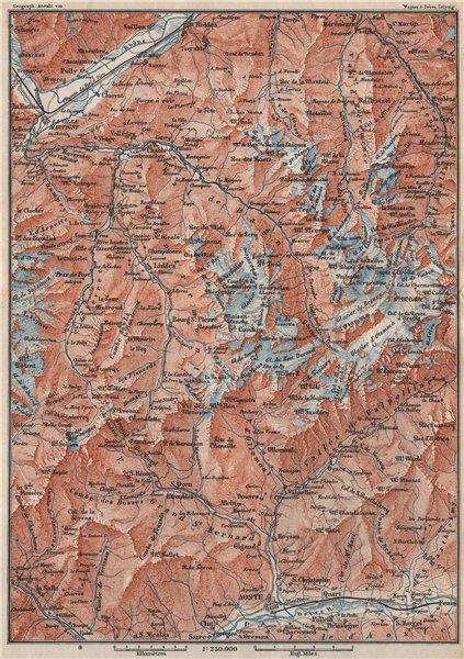 Associate Product GRAND ST BERNARD AREA. Martigny-Aosta. Verbier Liddes Valais Topo-map 1897
