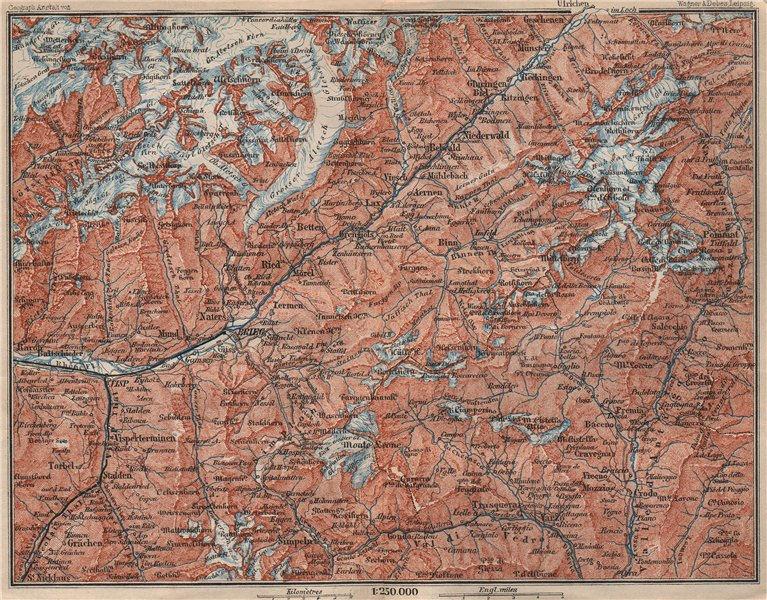 Associate Product UPPER VALAIS. Grächen Aletschhorn Ofenhorn Brieg Niederwald Ried Rhone 1897 map
