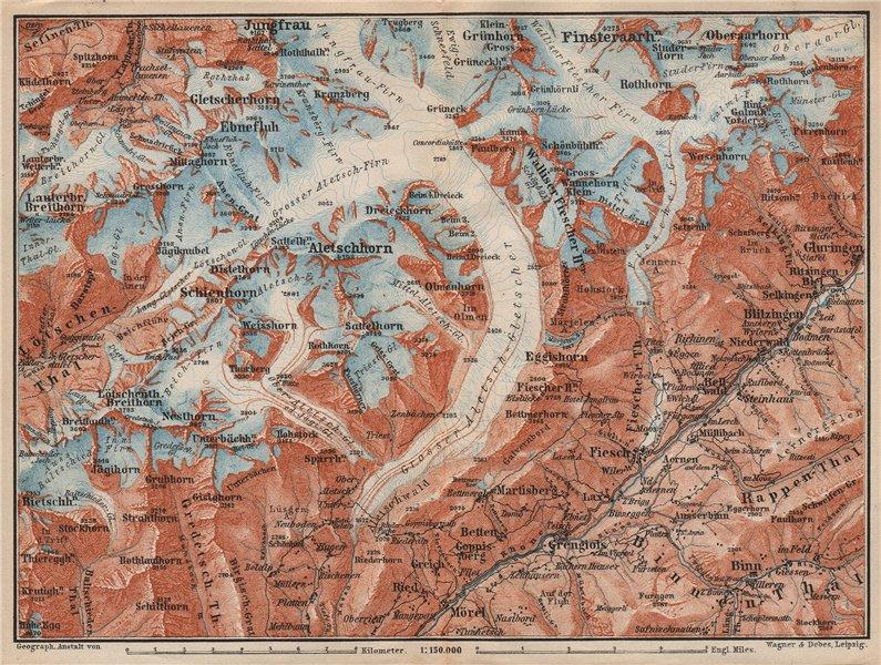Associate Product ALETSCHHORN DISTRICT. Fiesch Mörel Jungfrau Nesthorn Grengiols 1897 old map