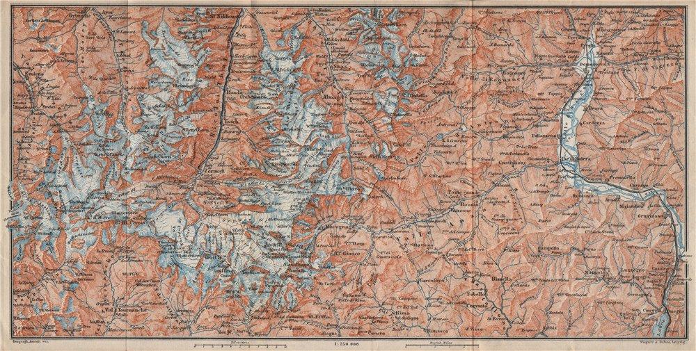 Associate Product VALAIS ALPS. Zermatt Saas-Fee Monte Rosa Val Tournanche Matterhorn 1897 map