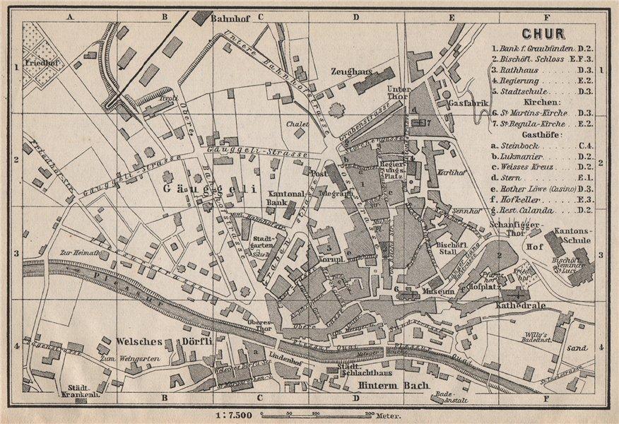 Associate Product COIRE / CHUR. Chur. town city stadtplan. Switzerland Suisse Schweiz 1897 map