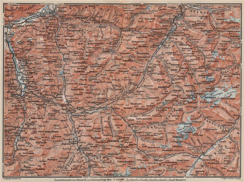 Associate Product GRAUBÜNDEN/ALBULA ALPS. Chur-Samedan. Arosa Lenz Davos Savognin Thusis 1897 map