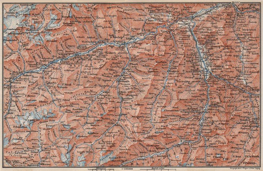 Associate Product VORDER-RHEINTHAL. Flims Laax Chur Obersaxen Tamins Brigels Thusis 1897 old map