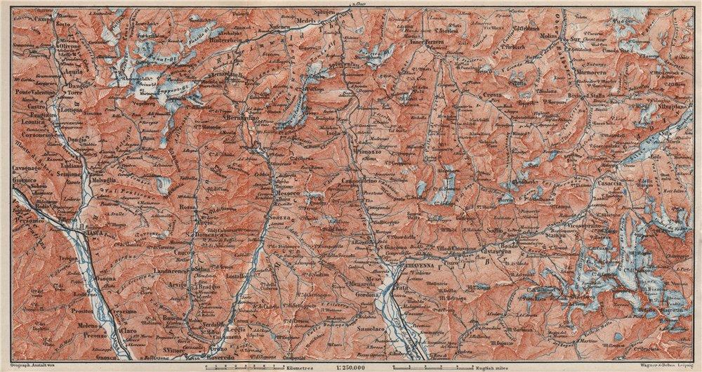 Associate Product LUKMANIER to MALOJA.Sils Maria Bivio Madesimo Chiavenna San Bernardino 1897 map
