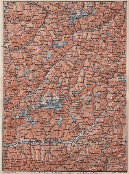 Associate Product ENGADINE/VAL TELLINA. Davos Arosa Sils Bormio Livigno Sondrio Chur 1897 map