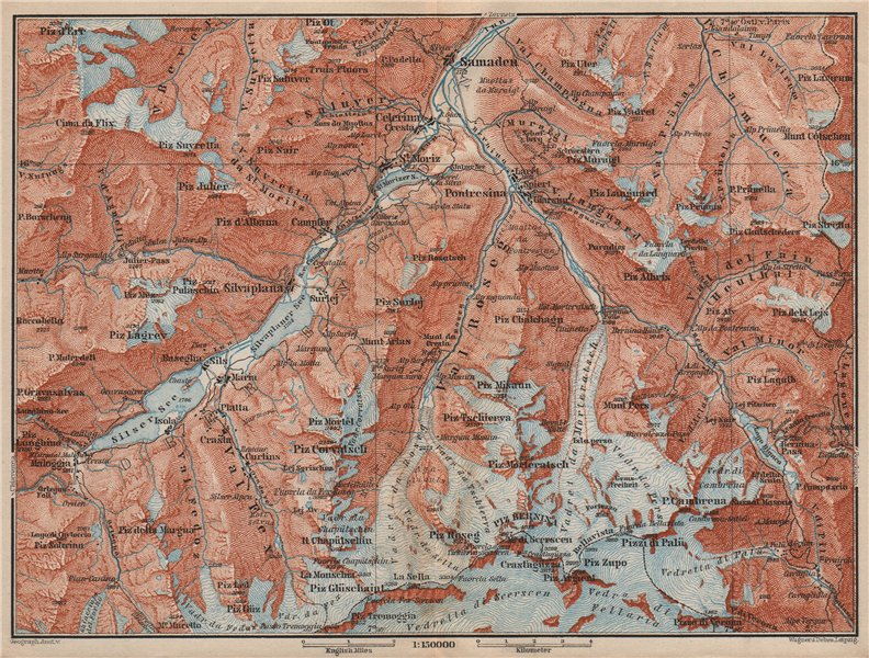 Associate Product UPPER ENGADINE. St Moritz Celerina Pontresina Sils-Maria Bernina Range 1897 map