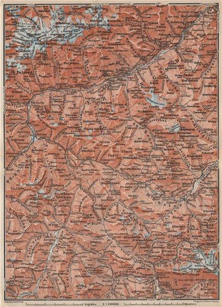 Associate Product LOWER ENGADINE. Livigno Bormio Ftan Scuol Silvretta Range Piz Buin 1897 map