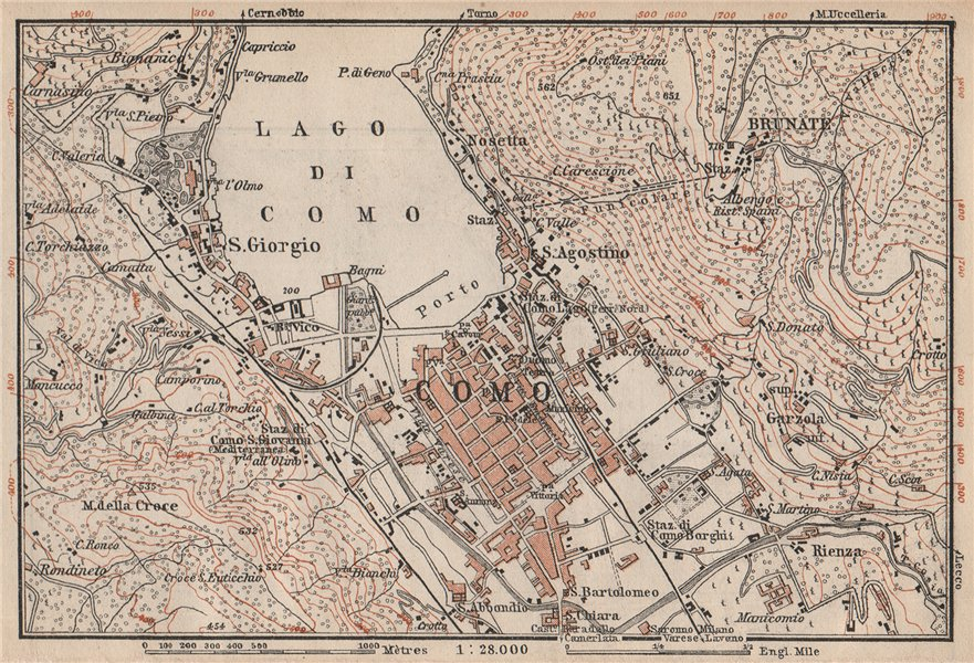 Associate Product COMO ENVIRONS. Brunate San Giorgio. Italy mappa. BAEDEKER 1897 old antique