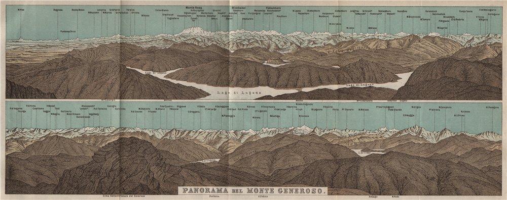 Associate Product MONTE GENEROSO PANORAMA. Lugano Como Maggiore Rosa Mischabel Disgrazia 1897 map