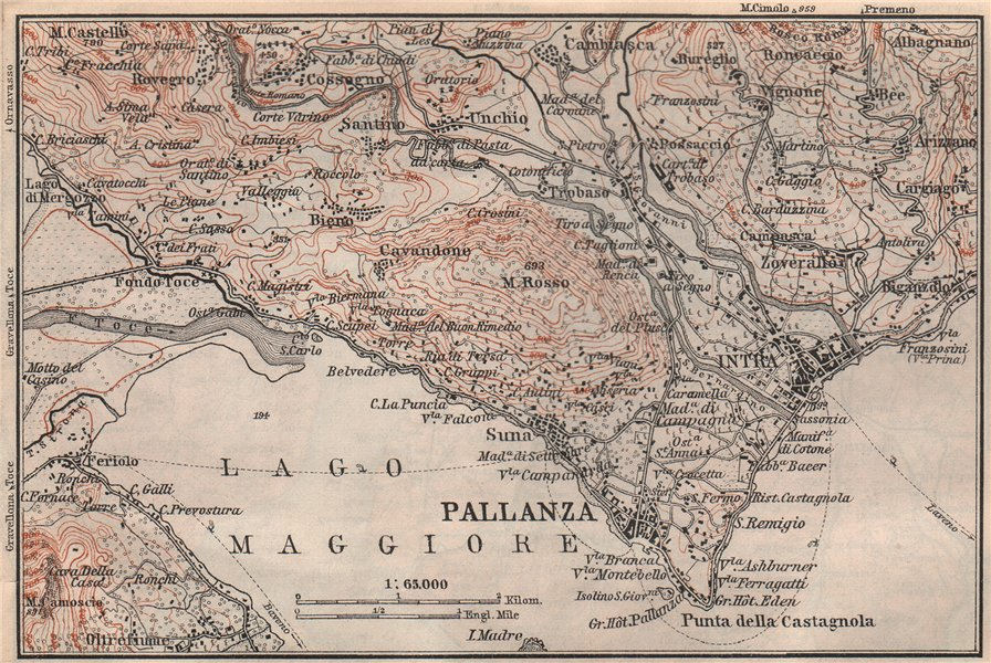 Associate Product PALLANZA ENVIRONS. Verbania. Intra Unchio. Italy mappa. BAEDEKER 1897 old