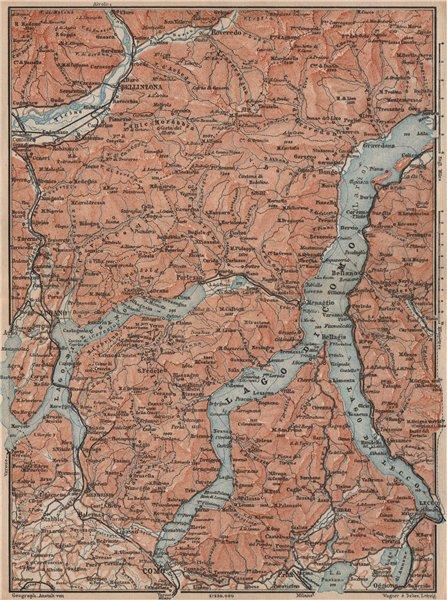 Associate Product LAKES/LAGO DI COMO & LUGANO. Lecco Bellinzona. Topo-map. Italy mappa 1897