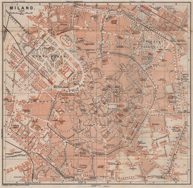Associate Product MILAN MILANO. town city plan piano urbanistico. Italy mappa. BAEDEKER 1897