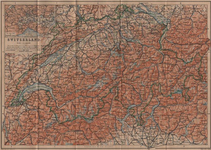 Associate Product Map of Switzerland Suisse Schweiz. Northern Italy railways carte karte 1899