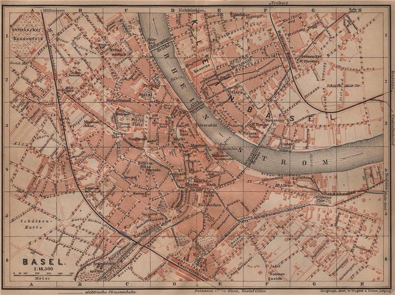 Associate Product BÂLE BASEL. Basle. town city stadtplan. Switzerland Suisse Schweiz 1899 map
