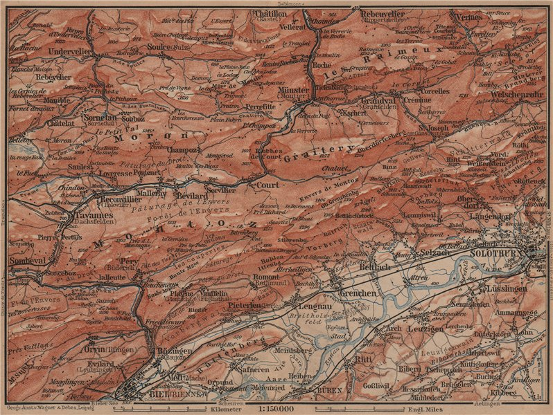 Associate Product BERNESE JURA. Solothurn Biel/Bienne Rebeuvelier Tavannes. Topo-map 1899