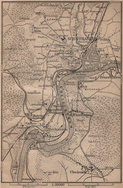 Associate Product SCHAFFHAUSEN environs. Flurlingen Feuerthalen Neuhausen. Schweiz 1899 old map