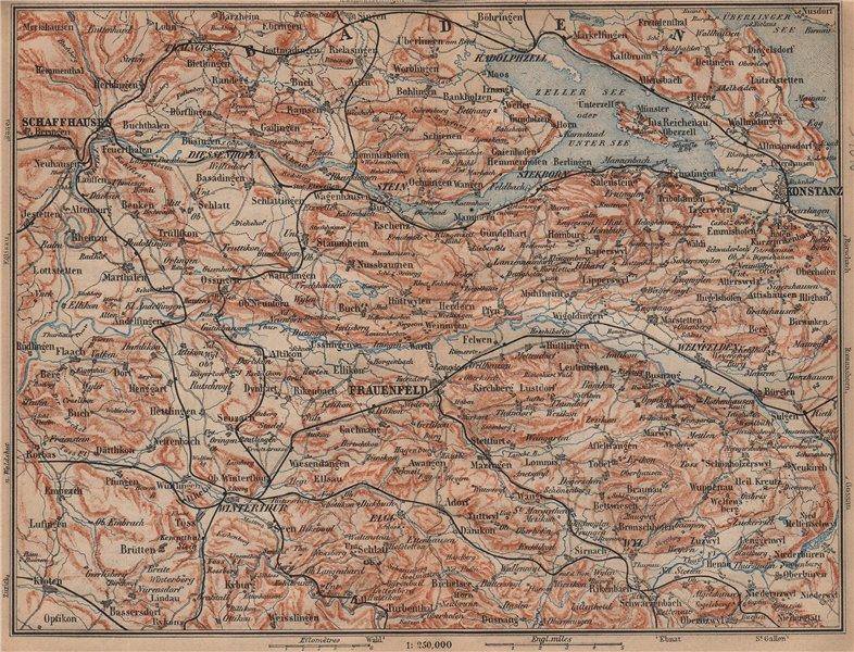 Associate Product SCHAFFHAUSEN to CONSTANCE. Konstanz Frauenfeld Zeller See Unter See 1899 map