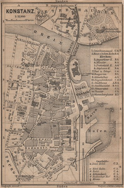 Associate Product CONSTANCE. KONSTANZ. town city stadtplan. Germany karte. BAEDEKER 1899 old map