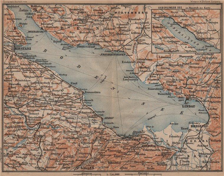 LAKE CONSTANCE inset LINDAU. Konstanz St Gallen Bregenz. Topo-map 1899 old
