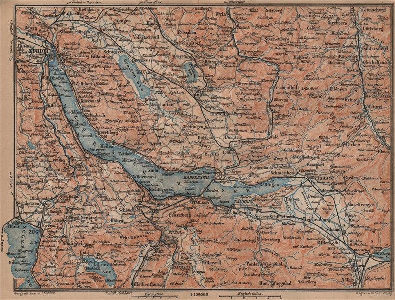 Associate Product LAKE ZÜRICH. Zuricher See Lachen Utznach.Topo-map. Switzerland Schweiz 1899