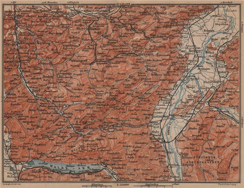Associate Product APPENZELL CANTON. Wildhaus Unterwasser St. Gallen Trogen Walensee 1899 old map