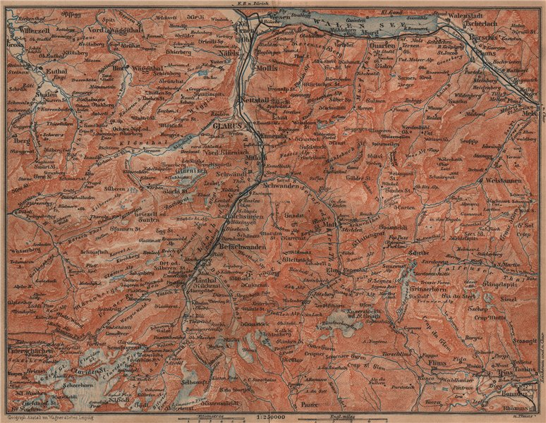 Associate Product GLARUS CANTON. Flums Braunwald Flims Näfels Walen See Linththal 1899 old map