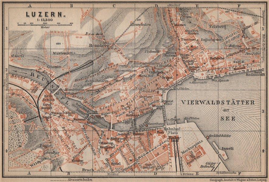 Associate Product LUCERNE LUZERN. town city stadtplan. Switzerland Suisse Schweiz 1899 old map