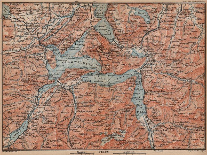 Associate Product LAKE LUCERNE. Vierwaldstättersee. Luzern Engelberg Sarnen Altorf Stanz 1899 map