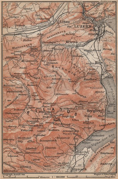 Associate Product PILATUS. Luzern Lucerne Kriens Alpnach Hergiswil. Topo-map. Schweiz 1899