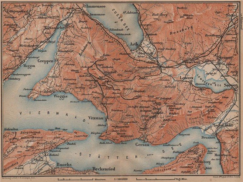 Associate Product THE RIGI. Vitznau Lowerz Immensee Arth Gersau Bekenried. Topo-map 1899 old