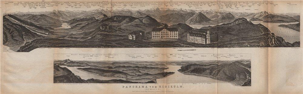 Associate Product PANORAMA from/von RIGIKULM 1800m. Küssnacht. Switzerland Schweiz 1899 old map