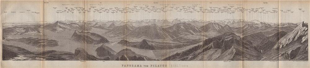 Associate Product PANORAMA from/von PILATUS. Vierwaldstättersee. Lake Lucerne. Schweiz 1899 map