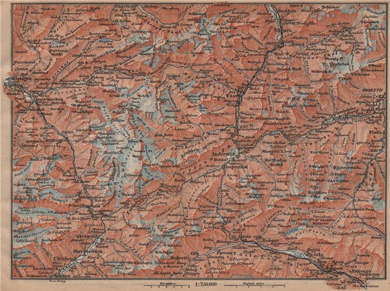Associate Product ST GOTTHARD area. Andermatt Engelberg Silenen Gadmen Ulrichen Disentis 1899 map