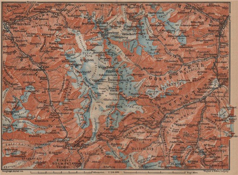 Associate Product URNER/URI ALPS. Trift district. Andermatt Innertkirchen Dammastock 1899 map