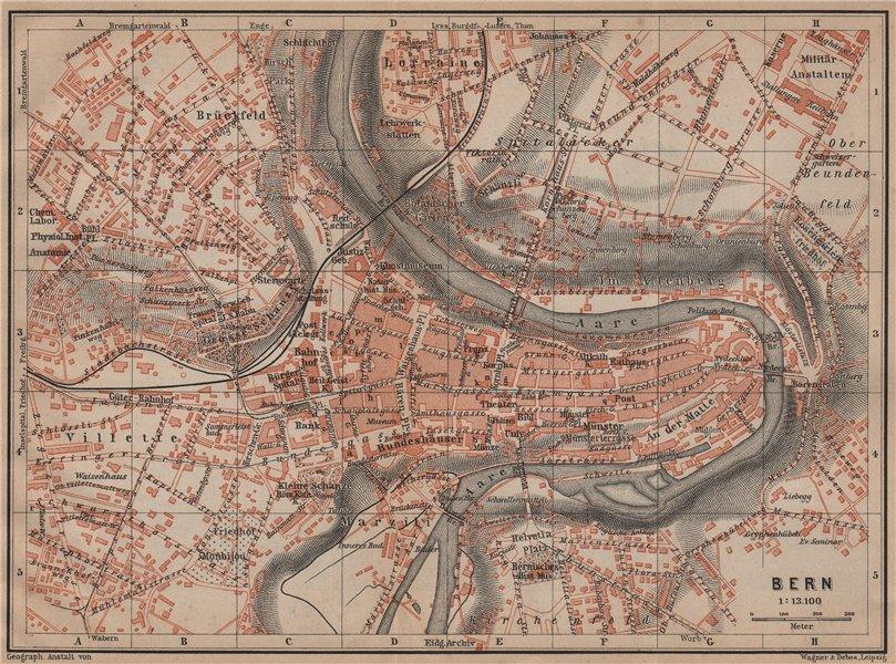 Associate Product BERN BERNE. town city stadtplan. Switzerland Suisse Schweiz. BAEDEKER 1899 map